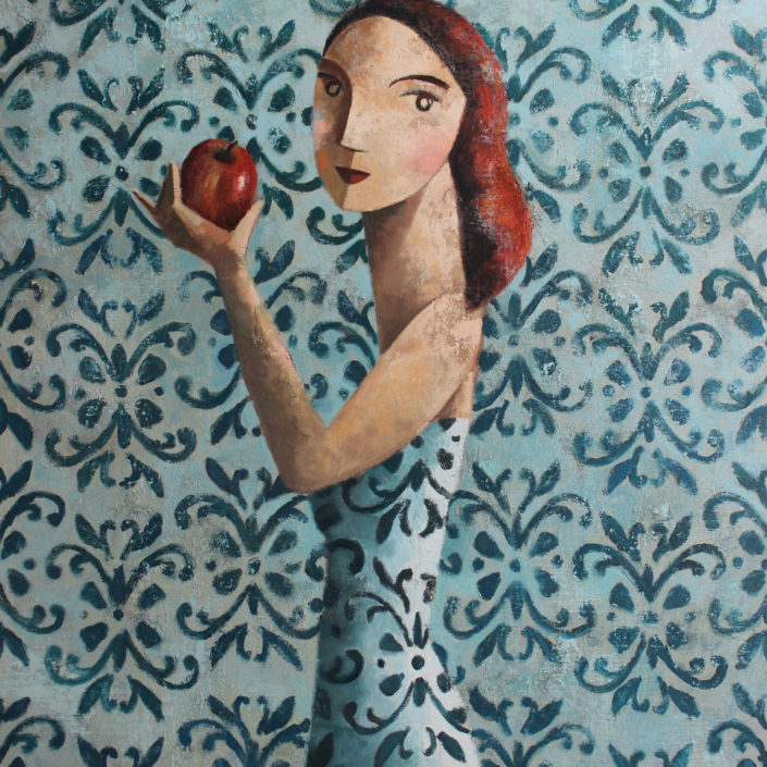 Woman and Apple 130x97 cm.