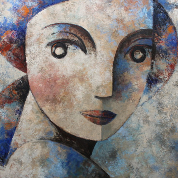 Face and blue 114 x 146 cm