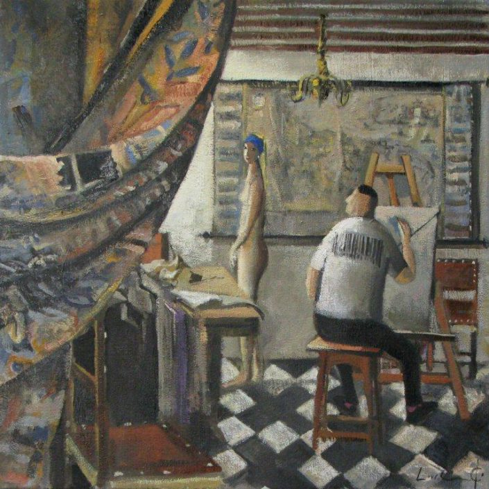 Divertimento-Vermeer-Pintor-en-su-estudio-40-x-40-cm