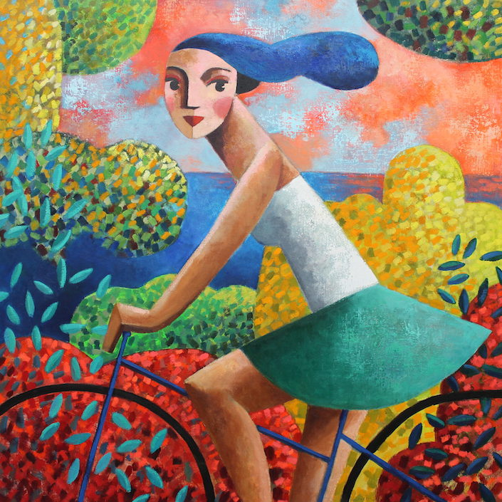 Afternoon ride 100 x 100 cm